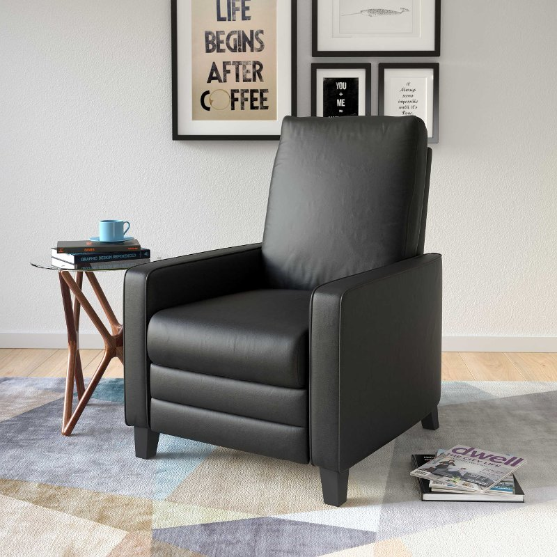 Peachy Black Bonded Leather Recliner Kelsey Pdpeps Interior Chair Design Pdpepsorg