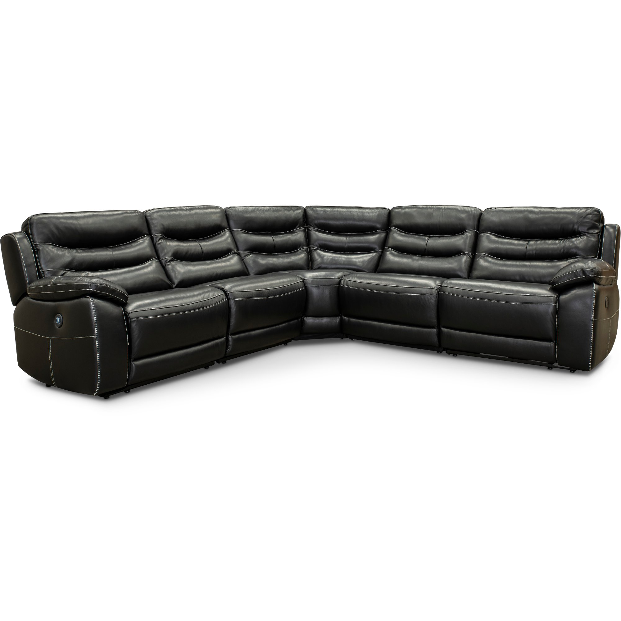 Black Leather Match Power Reclining Sectional Sofa Shawn Rc