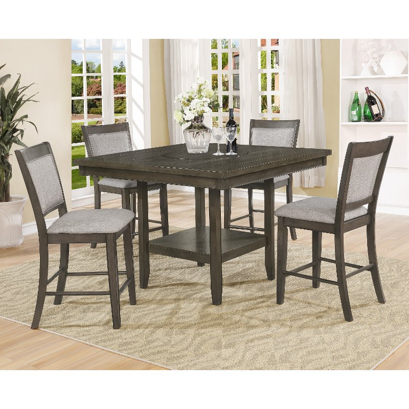 Ash Gray Counter Height 5 Piece Dining Set Fulton