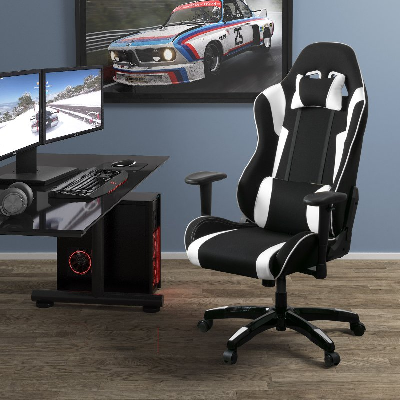 Superbe High Back Ergonomic Black And White Gaming Desk Chair   Workspace