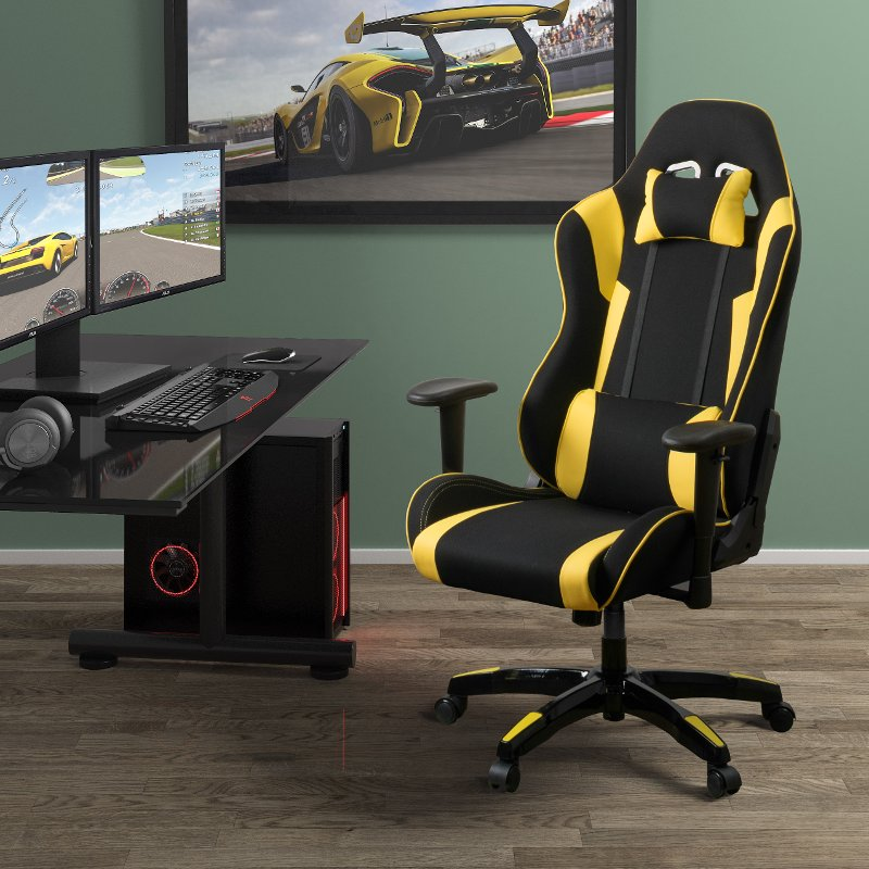Exceptionnel High Back Ergonomic Black And Yellow Gaming Desk Chair   Workspace