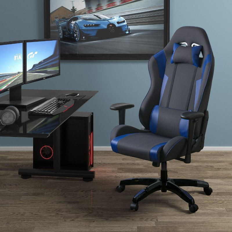 High Back Ergonomic Gray And Blue Gaming Desk Chair   Workspace