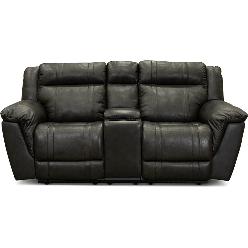 Excellent Gray Leather Match Manual Reclining Console Loveseat Trent Bralicious Painted Fabric Chair Ideas Braliciousco