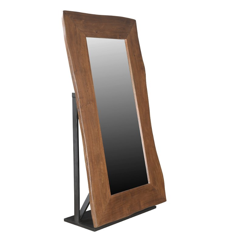 Honey Brown Wood Floor Mirror with Live Edge and Iron Base   RC ...