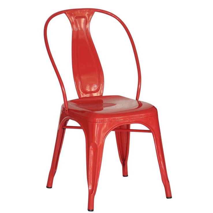 Superbe Set Of 4 Red Metal Industrial Dining Chairs   Reservation Seating