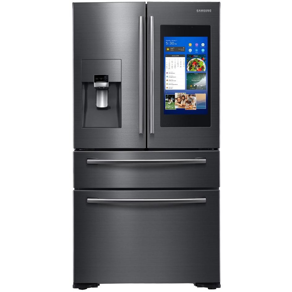 Samsung French Door Refrigerator With Family Hub 21 5 In Touchscreen 36 Inch Black Stainless Steel Counter Depth Rc Willey Furniture