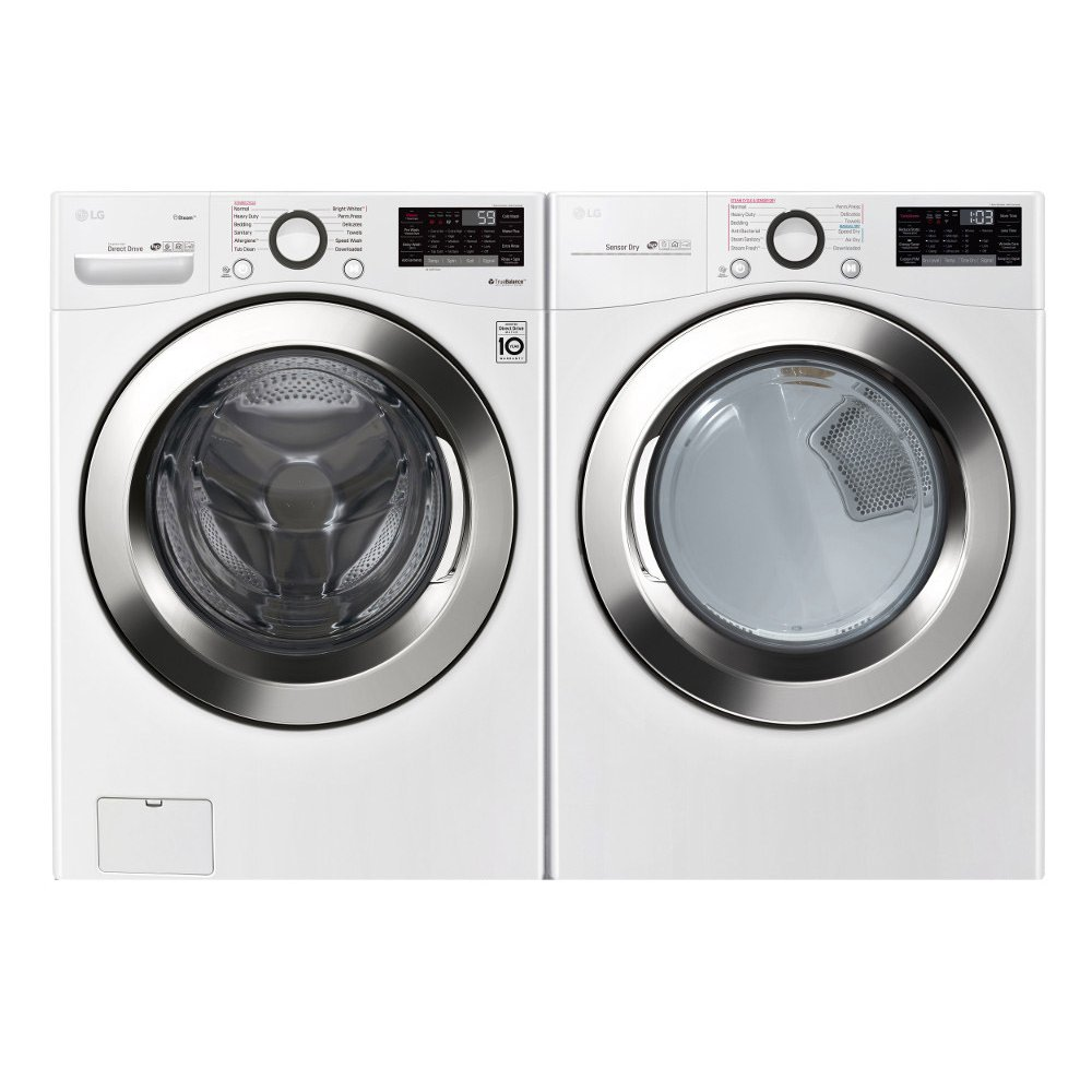 LG Front Load Washer and Dryer Laundry Pair with SmartThinQ - White Electric