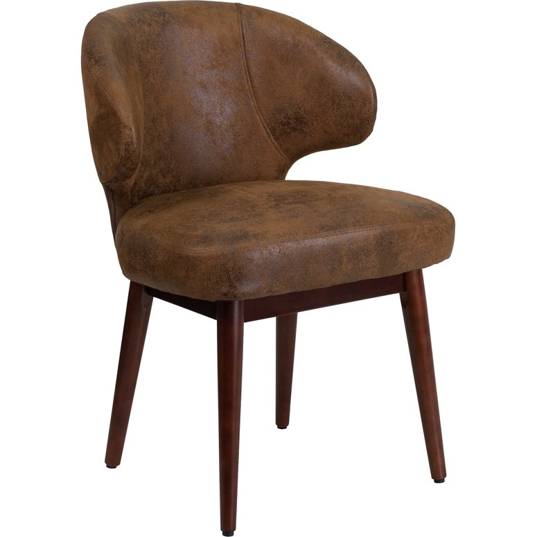 Small Vintage Brown Microfiber Accent Chair