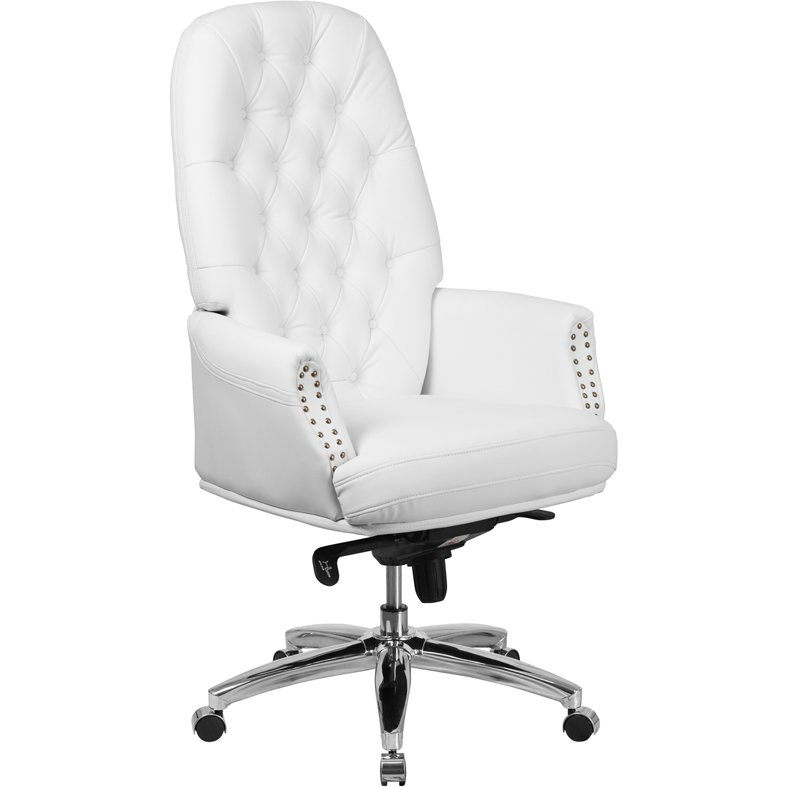 High Back White Leather Office Chair, White Leather Computer Chairs