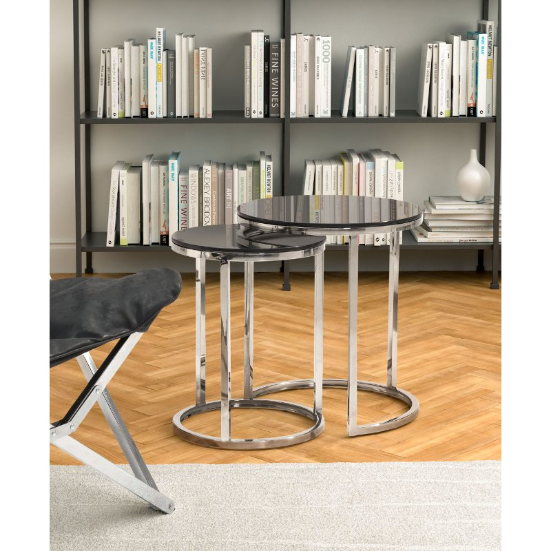 Stainless Steel And Black Nesting Coffee Table Set   Rem