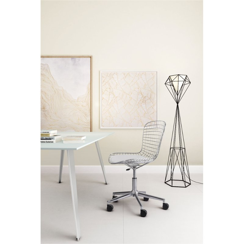 Wired Chrome And White Office Chair Wire