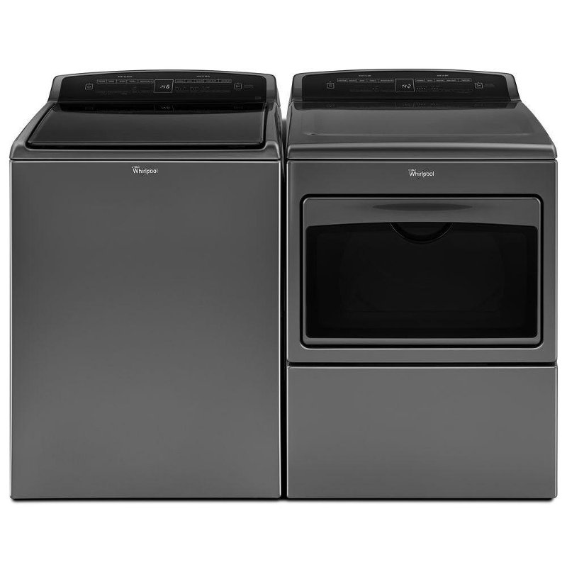 Whirlpool Top Load Washer and Dryer Set - Chrome Shadow Electric ...
