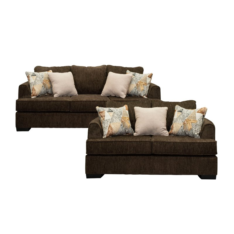 Contemporary Brown 2 Piece Living Room Set Lansing Rc Willey Furniture