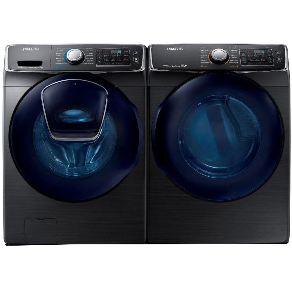black washer and dryer. Samsung Front Load Washer And Dryer Set - Black Stainless Steel Electric   RC Willey Furniture Store