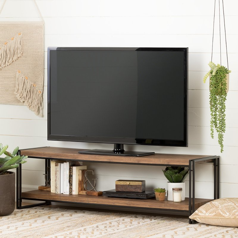 60 Inch Rustic Bamboo Tv Stand Gimetri Rc Willey Furniture Store