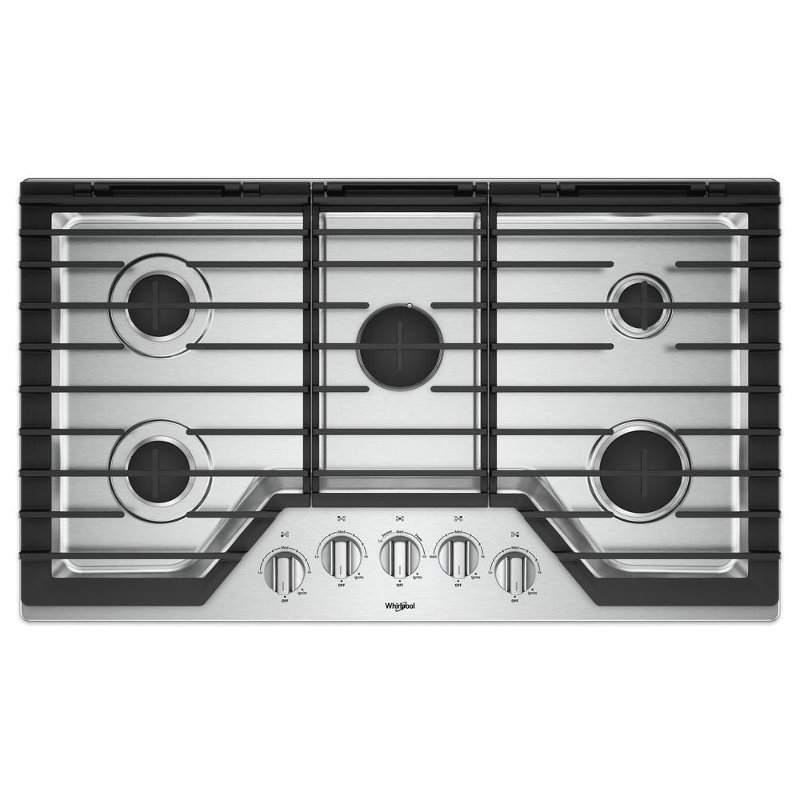 30af2fff1b7 WCG97US6HS Whirlpool 36 Inch Gas Cooktop with 5 burners and SpillGuard - Stainless  Steel