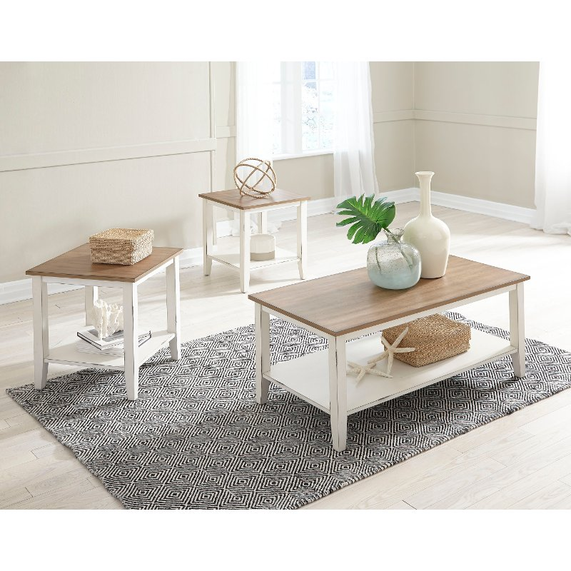 Classic Vintage Brown and White Living Room Table Set - Atticus | RC ...