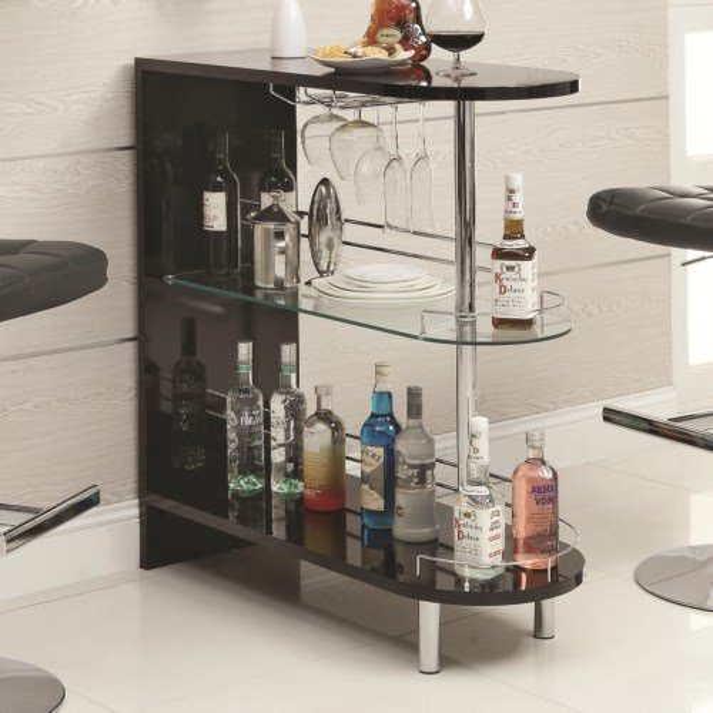 Glossy Black Contemporary Bar Cabinet