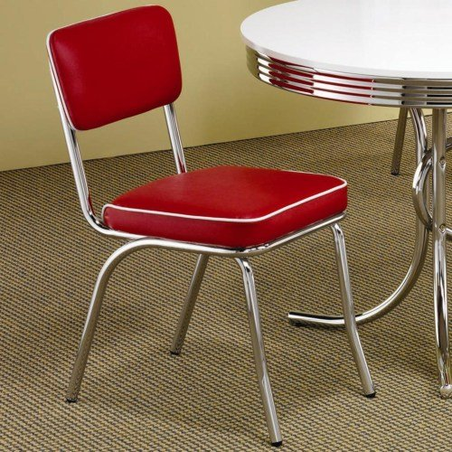 Chrome and Red Retro Dining Room Chair (Set of 2)