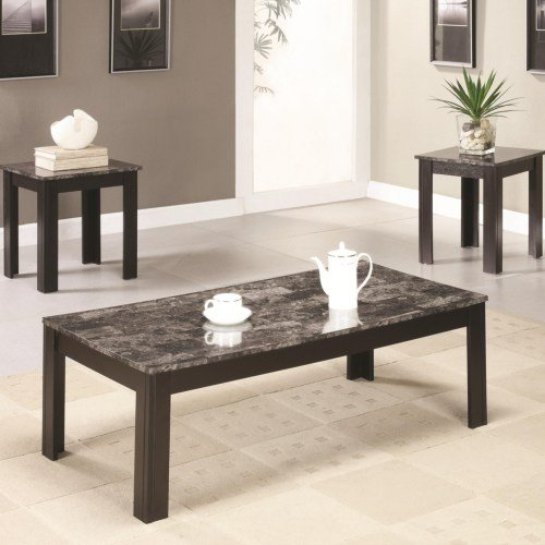 Black Marble Casual 3 Piece Living Room Table Set | RC Willey ...