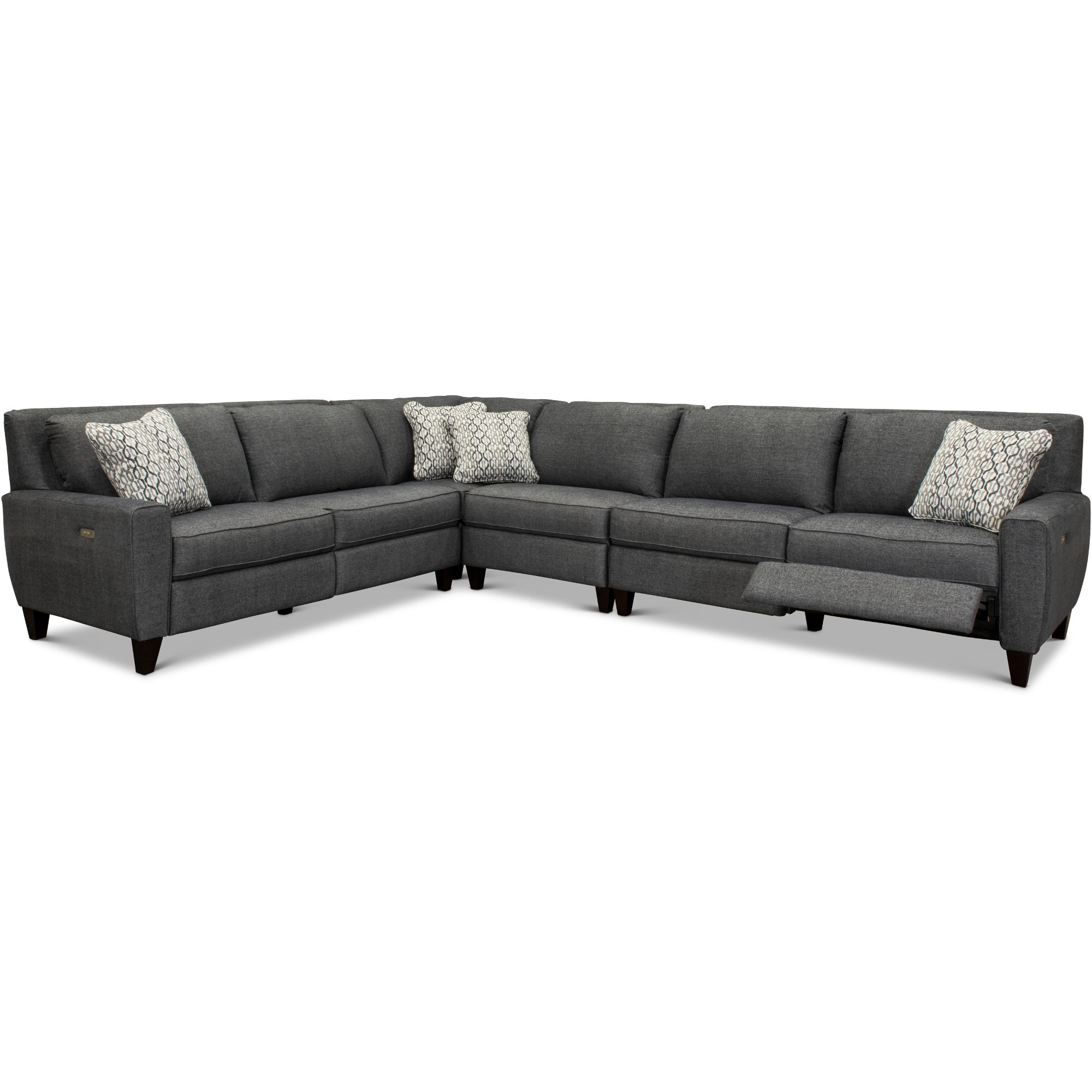 Charcoal Gray Duo 4 Piece Reclining Sectional Sofa Edie