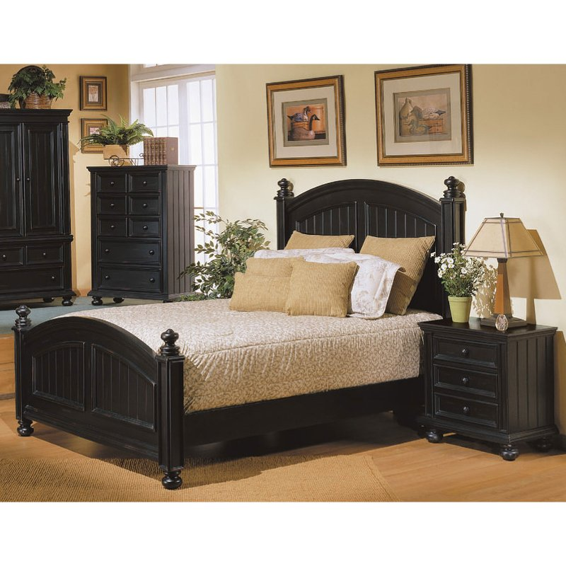 Classic Ebony Black 4 Piece Queen Bedroom Set - Cape Cod