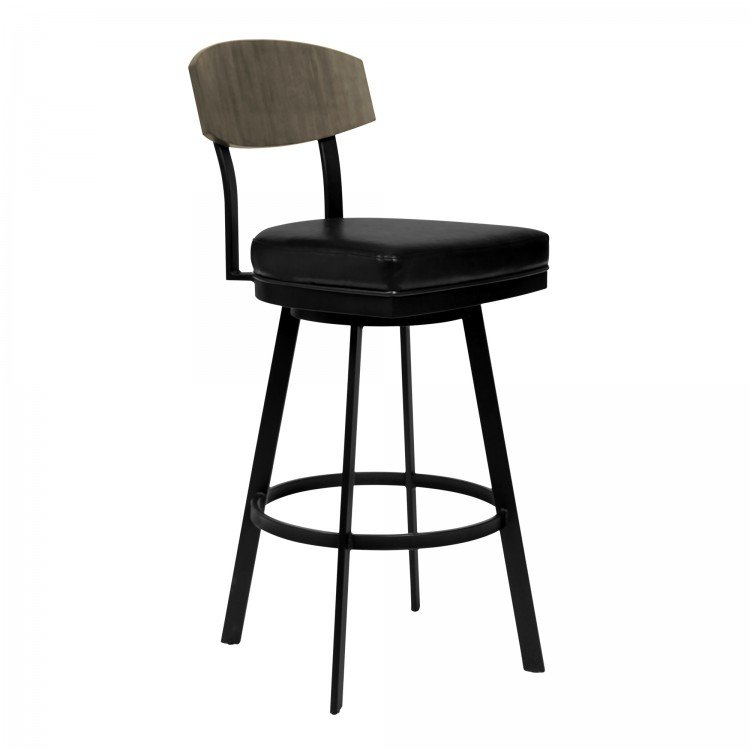 Matte Black And Gray Counter Height Stool   Frisco