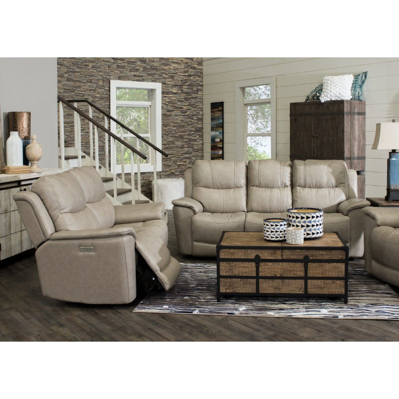 Ice White Leather-Match Power Reclining Living Room Set - Cade