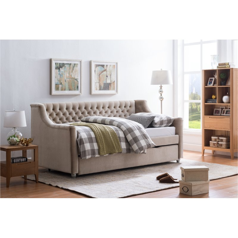 Champagne Velvet Upholstered Full Daybed With Trundle Rc Willey
