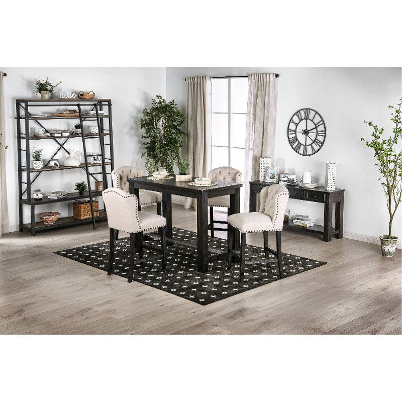 Distressed Black Counter Height 5 Piece Dining Set   Antique