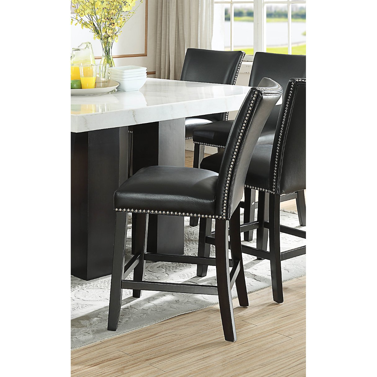Black Upholstered Counter Height Stool Camila Rc Willey Furniture Store