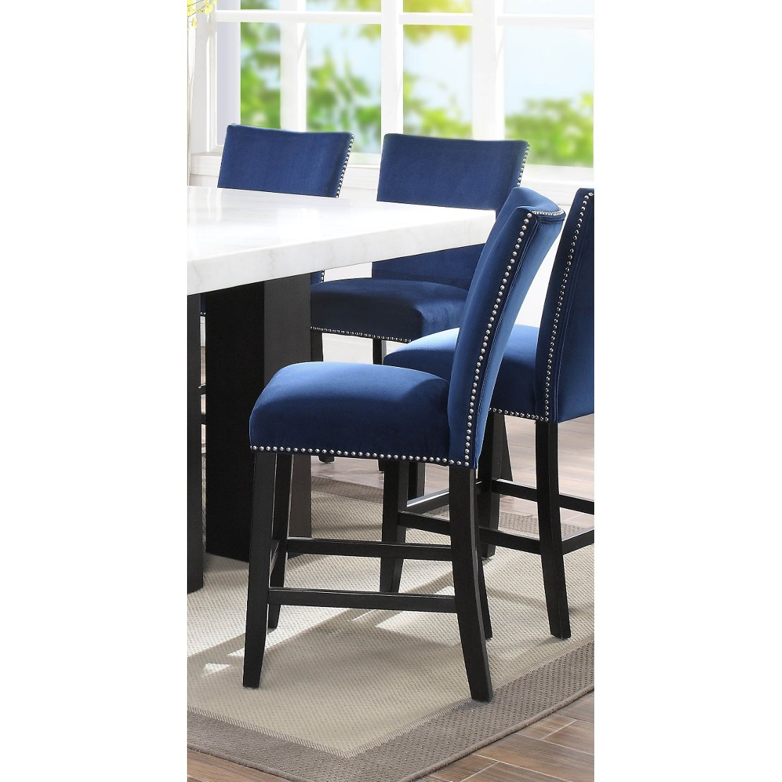 Astonishing Blue Velvet Upholstered Counter Height Stool Camila Bralicious Painted Fabric Chair Ideas Braliciousco