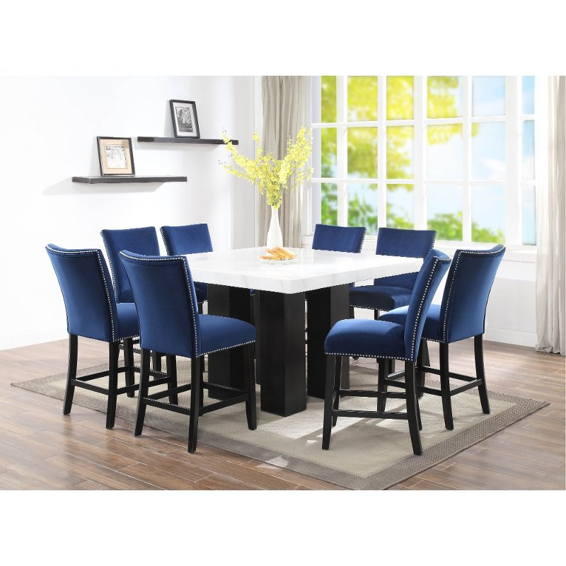 Marble And Blue 5 Piece Counter Height Dining Set Camila