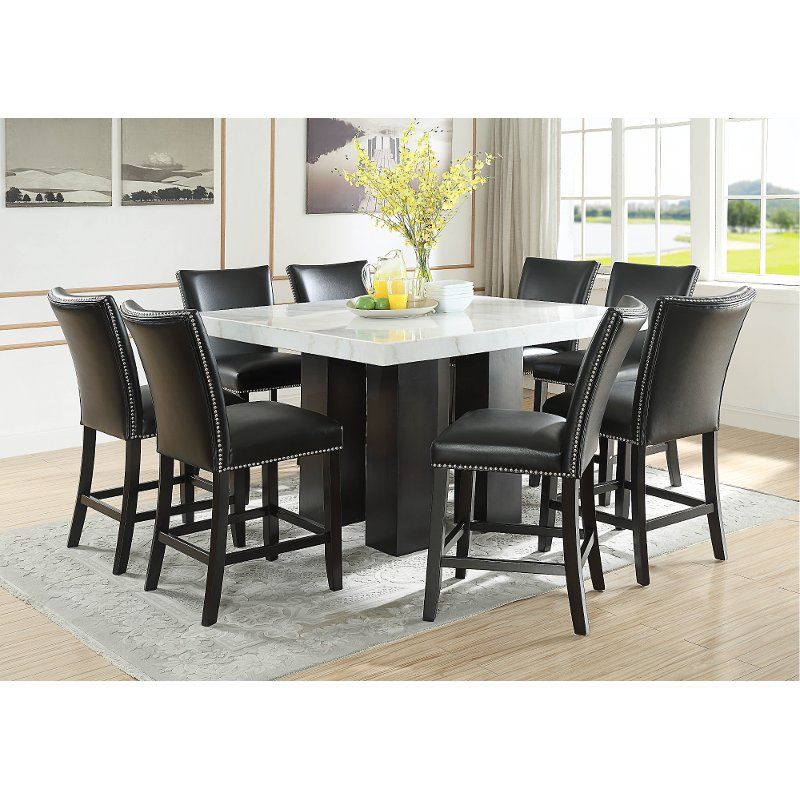 Marble And Black 9 Piece Counter Height Dining Set Camila