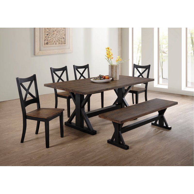 Brown And Black Farmhouse 6 Piece Dining Set With Bench Lexington