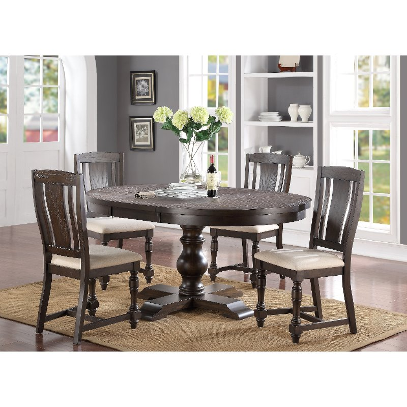 Espresso Brown 5 Piece Dining Set   Xcalibur