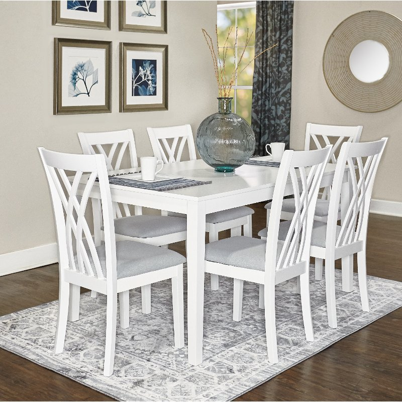 White 7 Piece Dining Set   Starla