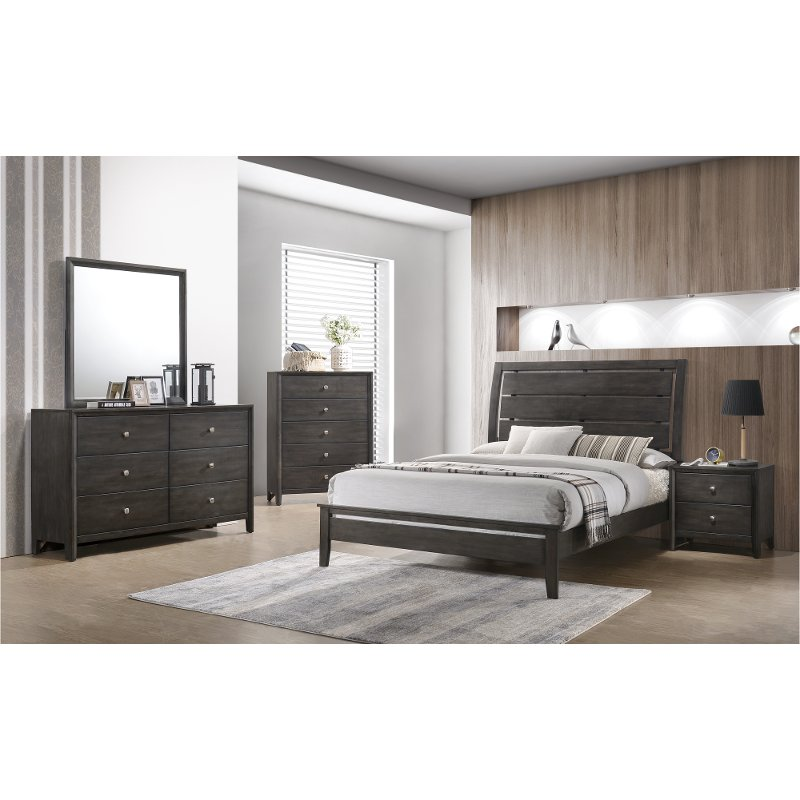 Rc Willey Bedroom Furniture: Contemporary Gray 4 Piece Full Bedroom Set - Grant