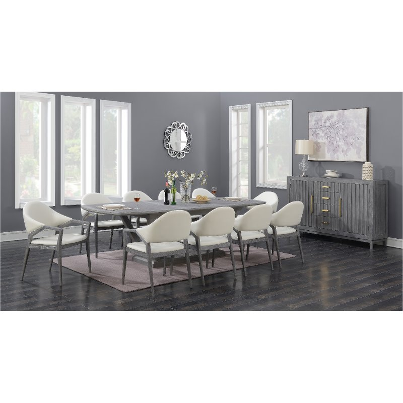 Slate Gray And White Contemporary 5 Piece Dining Set Carrera Rc