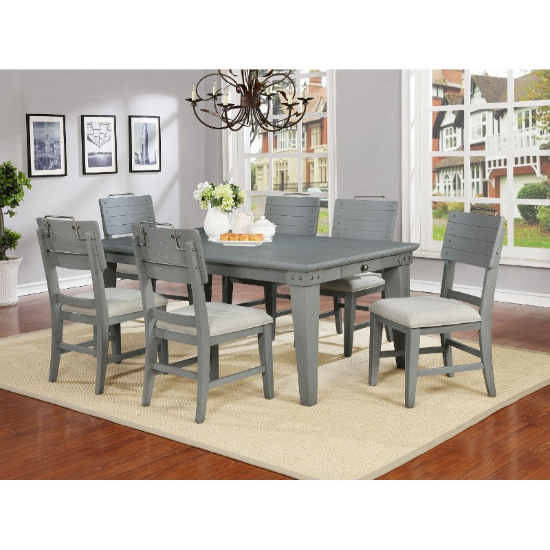 Dove Gray Casual Farmhouse 7 Piece Dining Set - American Vintage