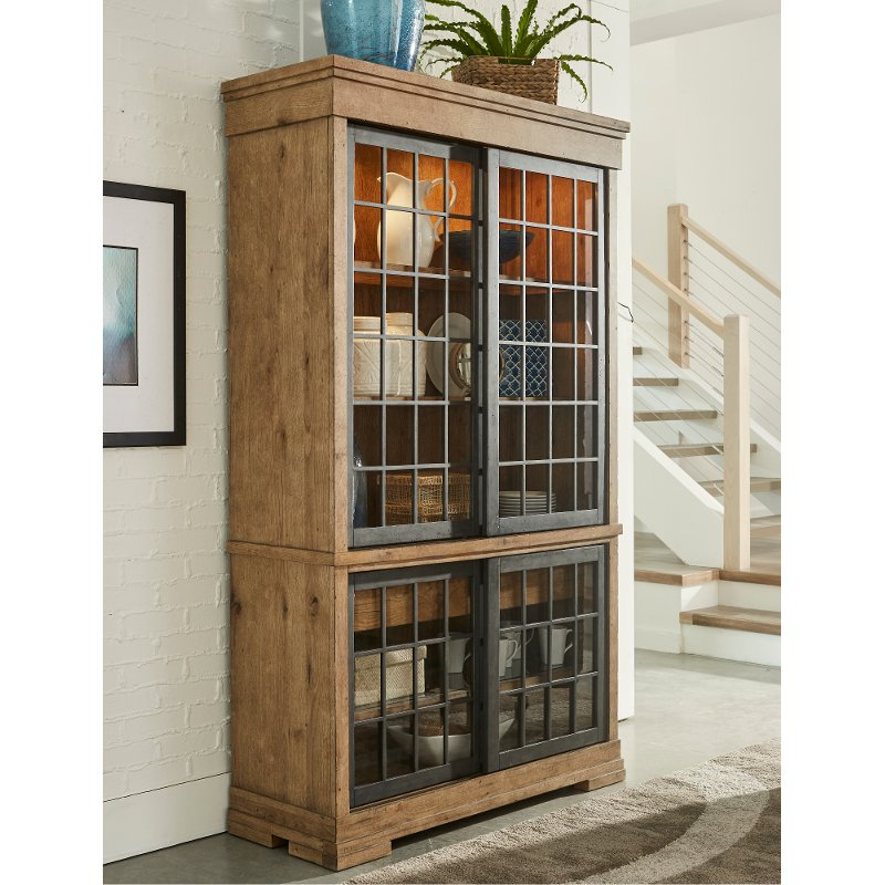 Rustic Wheat Brown Curio Cabinet Coming Home Rc Willey Furniture