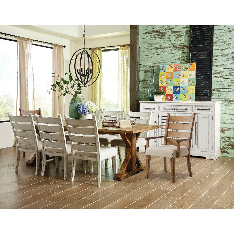 Brown and Chalk White Rustic 7 Piece Dining Set - Coming Home