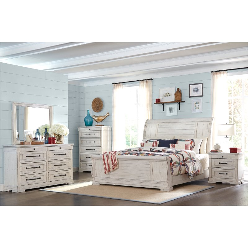 Rustic Chalk White 4 Piece King Bedroom Set Coming Home Rc