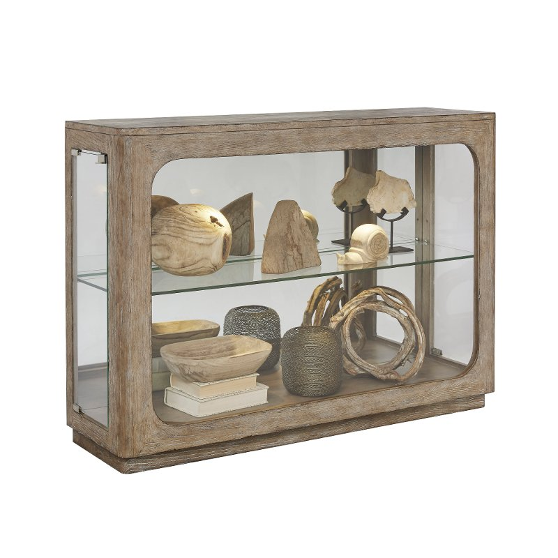 Washed Brown Small Curio Cabinet Rc