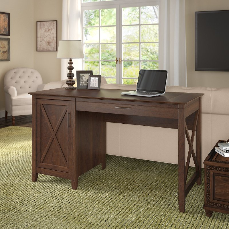 Cherry Brown Casual 54 Inch Office Desk Key West
