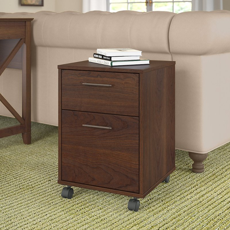 Cherry Brown Rolling 2 Drawer Wooden File Cabinet Key West Rc Willey Furniture