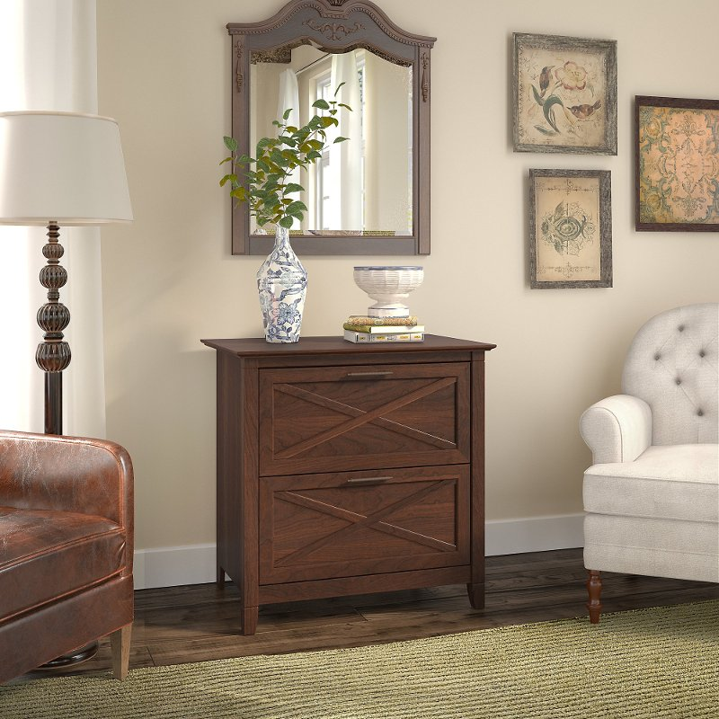 Cherry Brown 2 Drawer Wood Lateral File Cabinet Key West