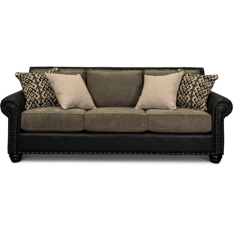 Rustic Traditional Black and Brown Sofa - Marksman | RC Willey ...