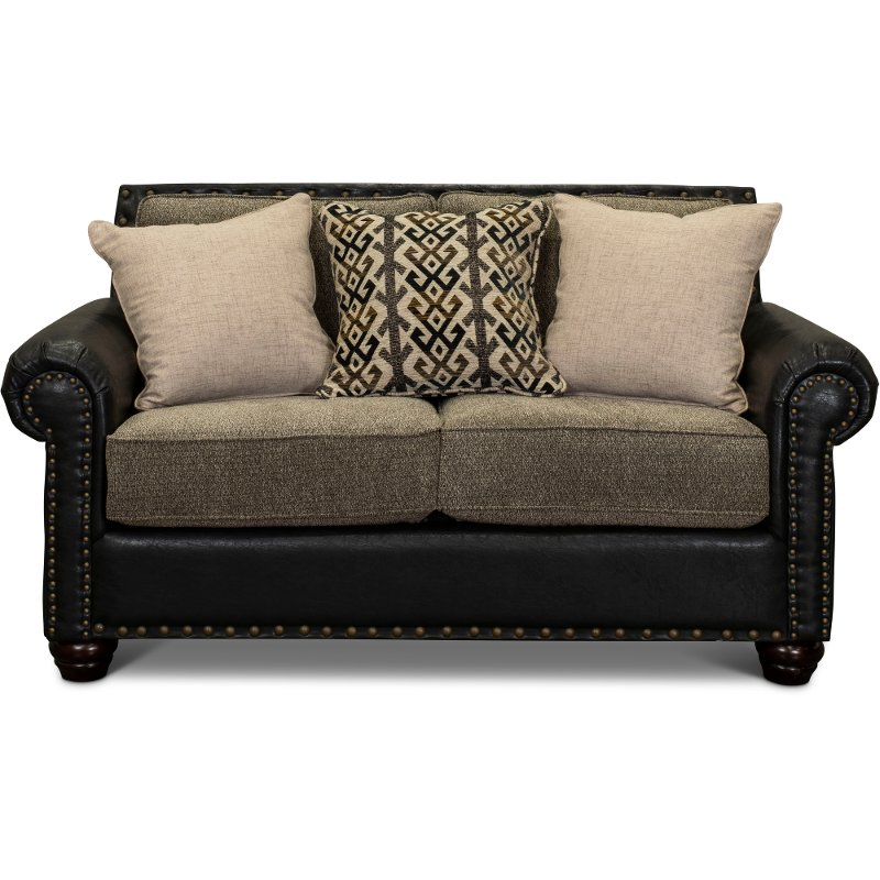 Rustic Traditional Black and Brown Loveseat - Marksman | RC Willey ...