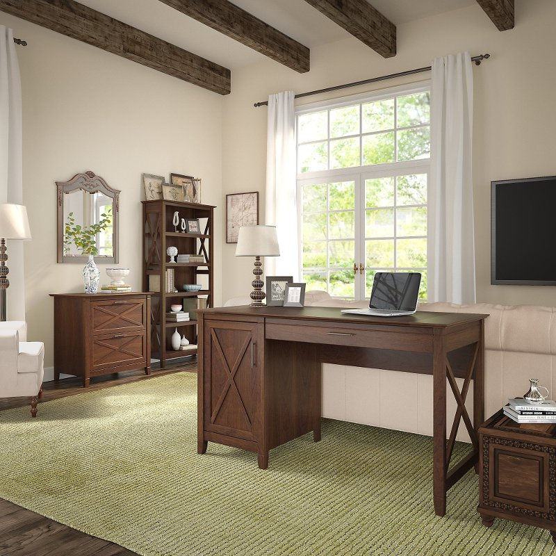 Brown Computer Desk, Lateral File Cabinet, And Bookshelf Combo   Key West